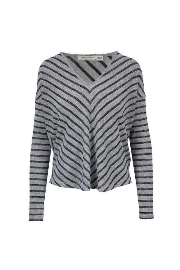 Rag & Bone Hudson Heather Gray & Black Striped T-Shirt