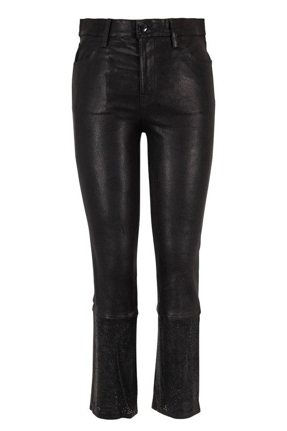 J Brand Ruby Black Leather High-Rise Crop Jean