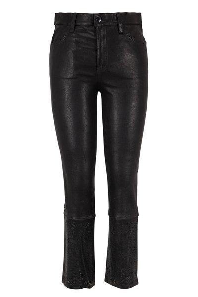J Brand - Ruby Black Leather High-Rise Crop Jean