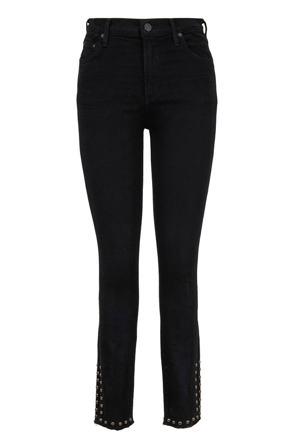 Citizens of Humanity Rocket Black Studded Ankle Skinny Jean