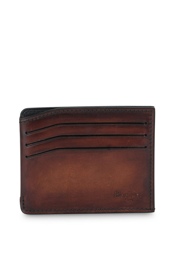Berluti Bambou Dark Brown Leather Card Holder