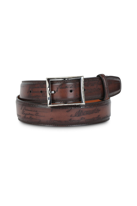 Berluti Tobacco Engraved Script Leather Belt