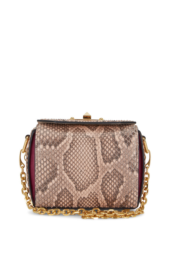 Alexander McQueen Box Bag Brown & Black Python Chain Bag