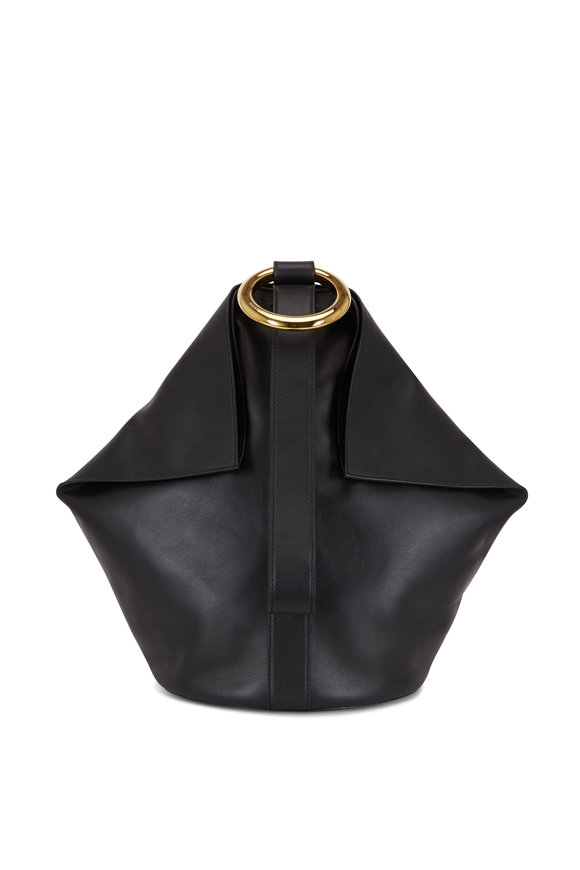 Alexander McQueen Butterfly Black Leather Ring Top Handle Bag