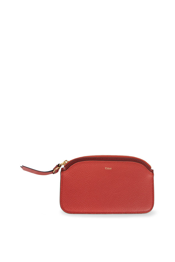 Chloé Earthy Red Leather Card Holder Zip Pouch
