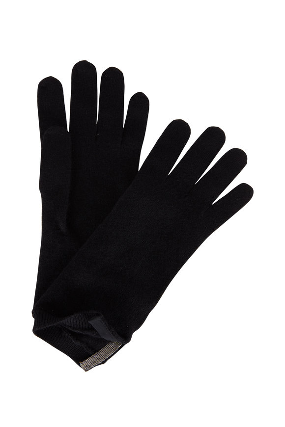 Brunello Cucinelli Exclusively Ours! Black Cashmere Monili Tab Gloves