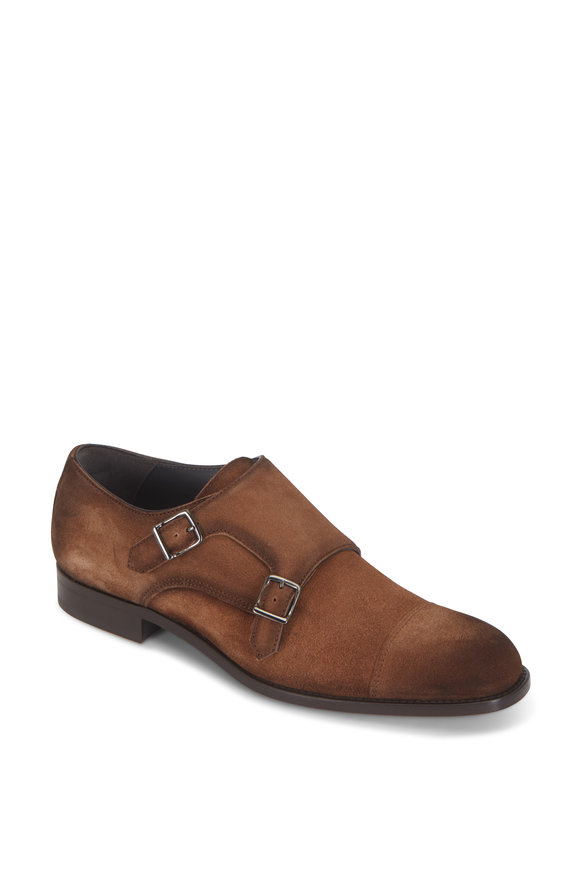 To Boot New York Quentin Brown Suede Double-Monk Strap Dress Shoe