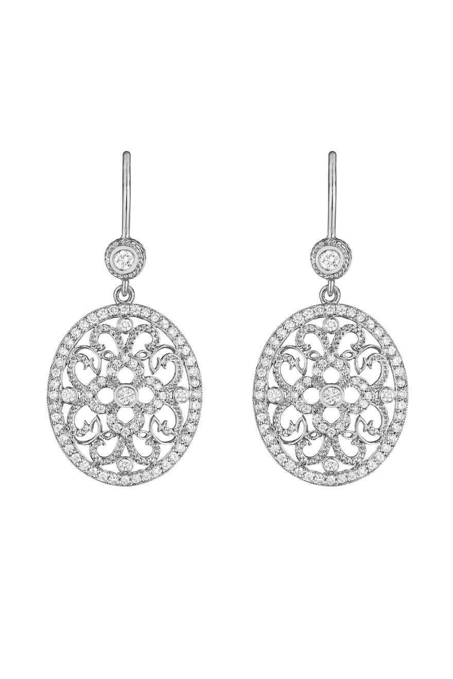 White Gold Round Curly Lace Diamond Earrings