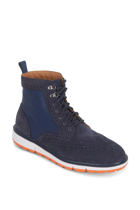 Swims Motion Navy Blue & Orange Wingtip Waterproof Boot