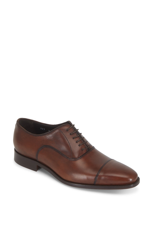 To Boot New York Knoll Chestnut Leather Cap-Toe Dress Shoe