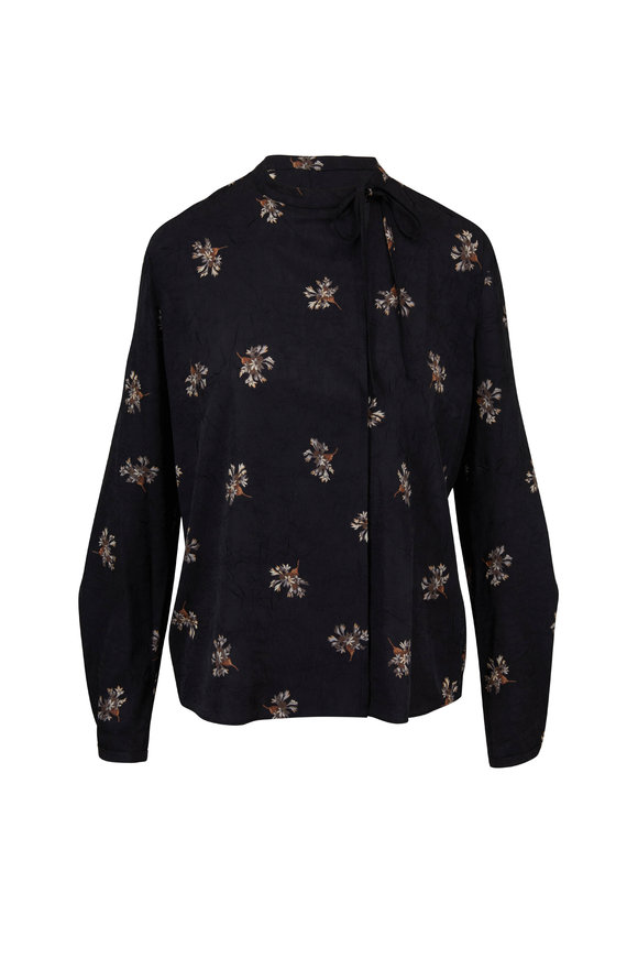 Vince Black Tossed Bouquet Printed Tie Neck Blouse