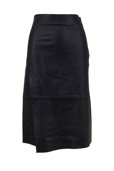 Vince - Black Leather Slit Skirt