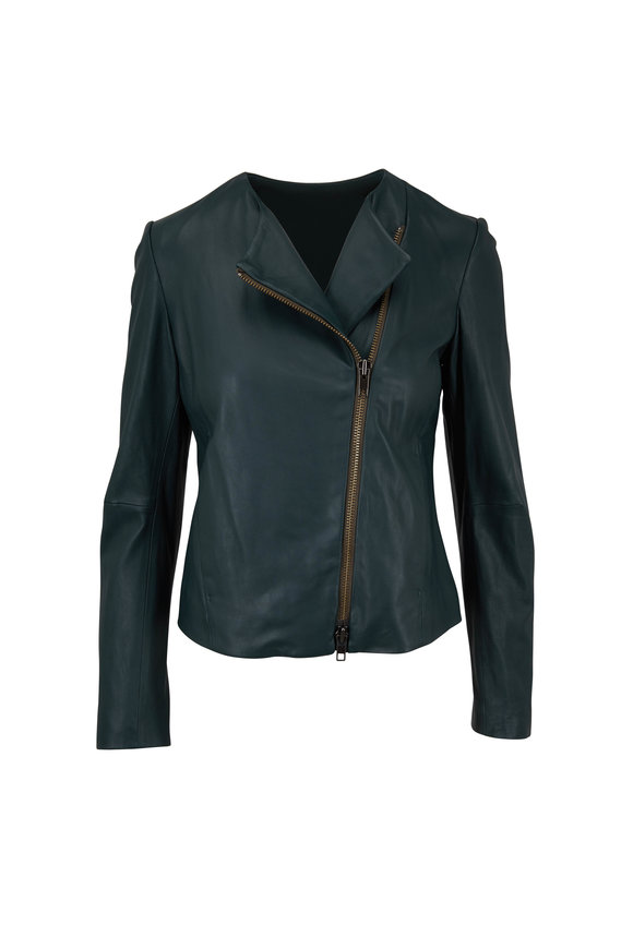 Vince Palm Green Leather Cross-Front Jacket