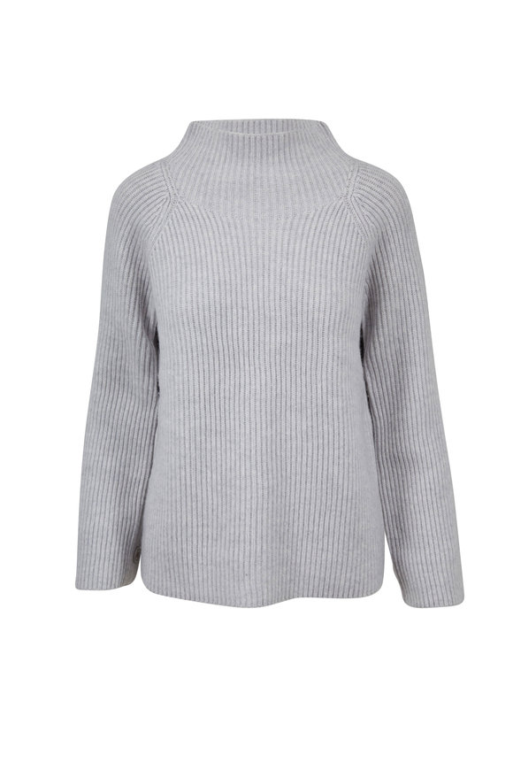 Vince Light Heather Gray Button Sleeve Sweater