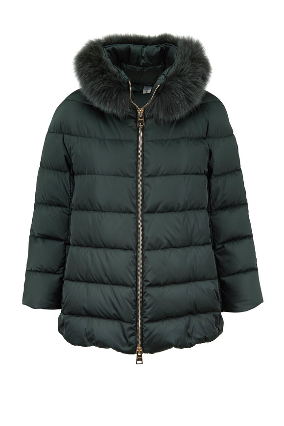 Herno Forest Green Sateen Fur Collar Puffer Jacket