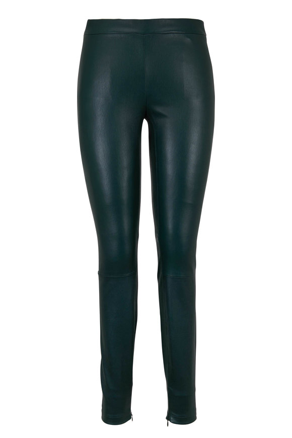 Vince Dark Palm Leather Zip Cuff Legging