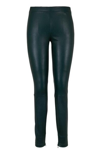 Vince - Dark Palm Leather Zip Cuff Legging