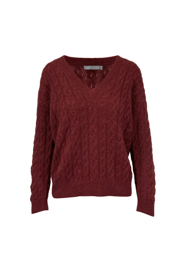 Vince Anise Cable Knit V-Neck Sweater
