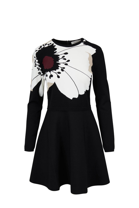 Valentino Black Stretch Knit Anemone Long Sleeve Dress