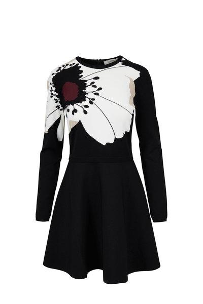 Valentino - Black Stretch Knit Anemone Long Sleeve Dress