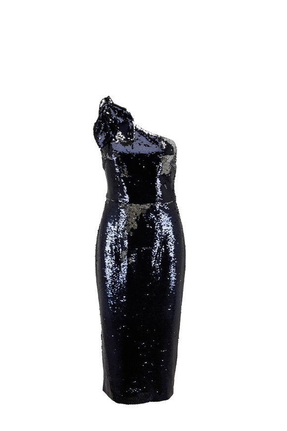 Safiyaa Icenna Navy Shift Sequin One-Shoulder Dress