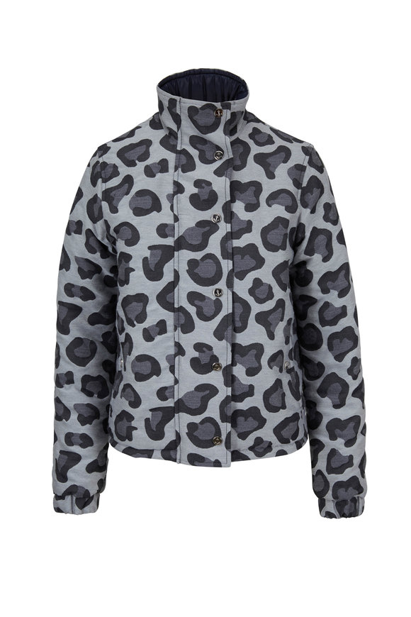 Thom Browne Gray Leopard Reversible Tech Down Puffer Jacket