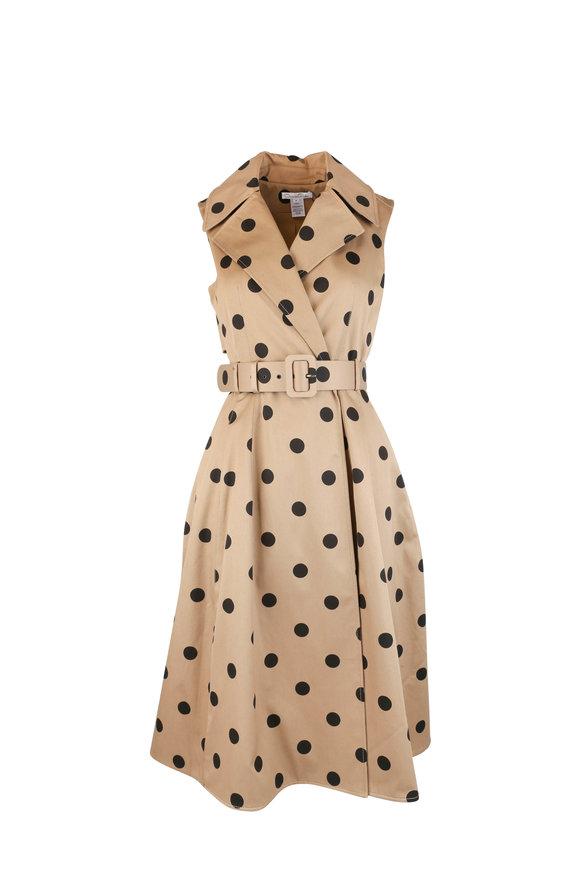 Oscar de la Renta Sand & Black Twill Polka Dot Dress