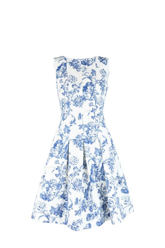 Oscar de la Renta Blue & White Toile Print Sleeveless Dress