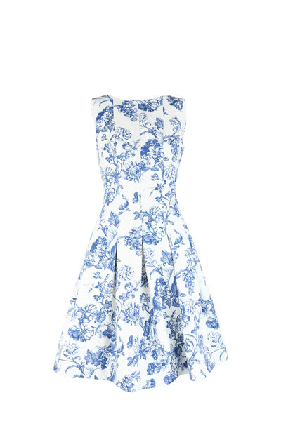 Oscar de la Renta - Blue & White Toile Print Sleeveless Dress