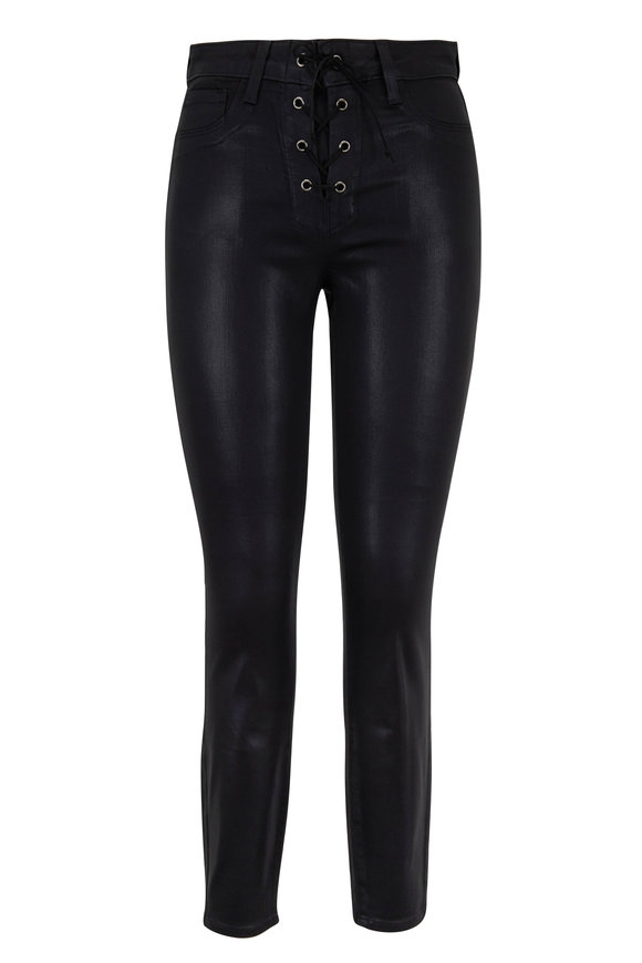 L'Agence Cherie Black Coated Lace-Up Skinny Jean