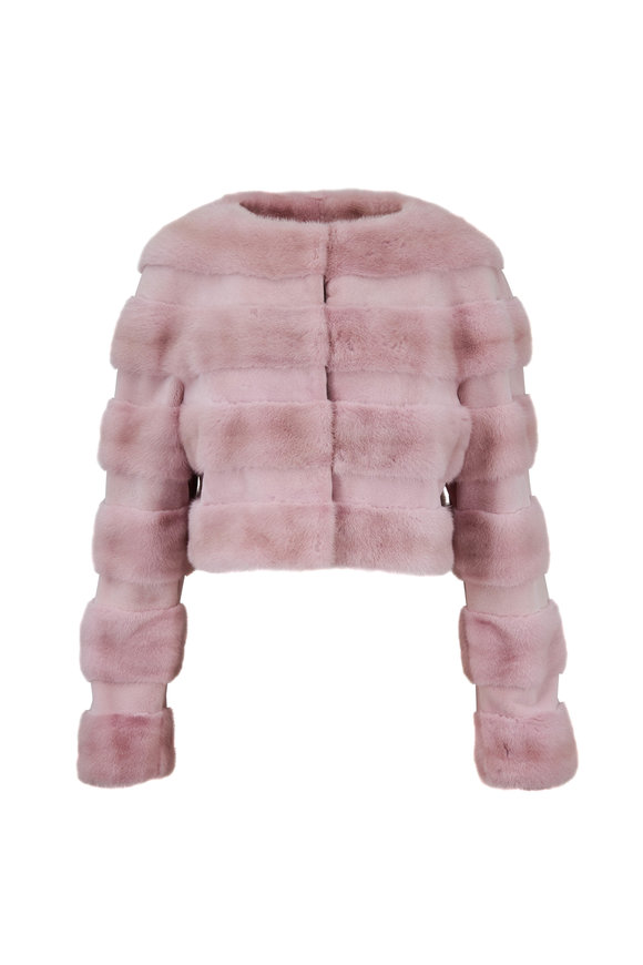 Oscar de la Renta Furs Light Pink Mink Sheared Panel Jacket