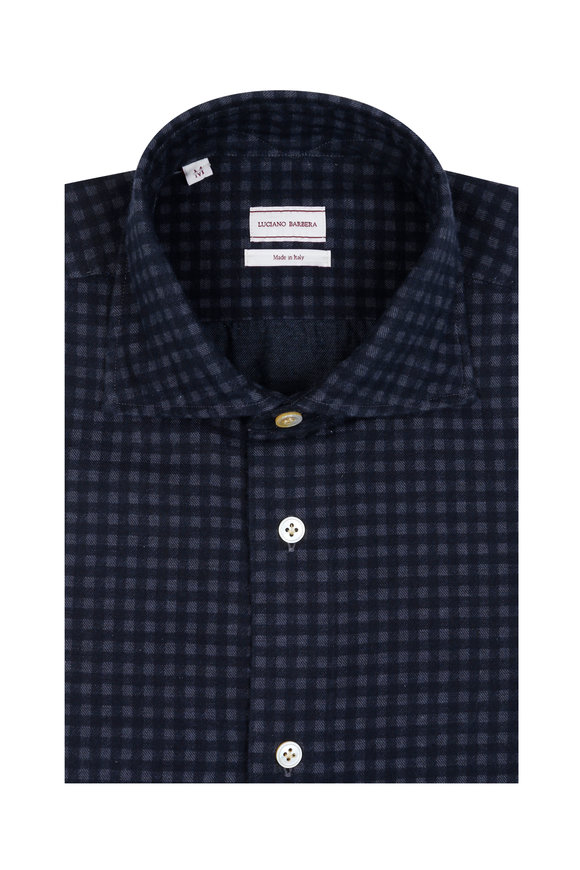 Luciano Barbera Navy Blue Flannel Check Sport Shirt