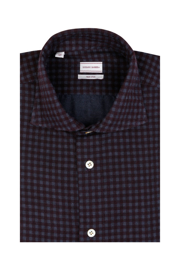 Luciano Barbera Burgundy & Blue Flannel Check Sport Shirt
