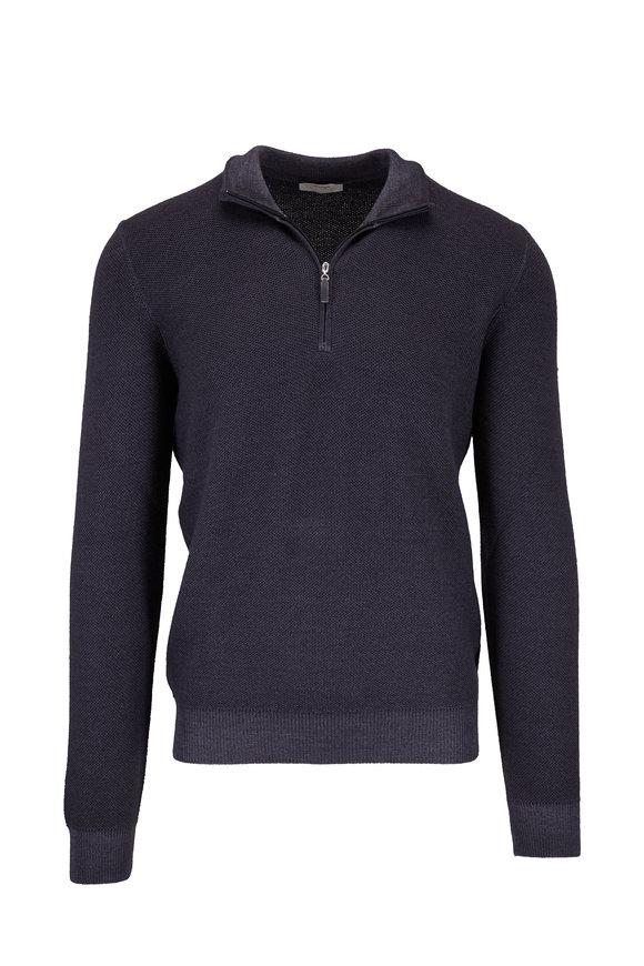 Gran Sasso Charcoal Gray Merino Piqué Quarter-Zip Pullover