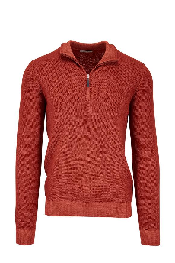 Gran Sasso Rust Merino Piqué Quarter-Zip Pullover