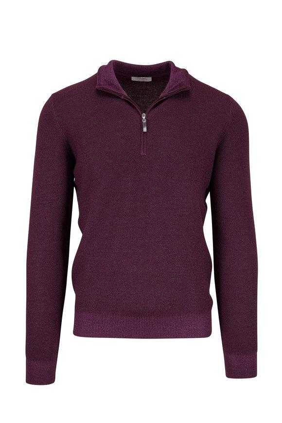 Gran Sasso Purple Merino Piqué Quarter-Zip Pullover