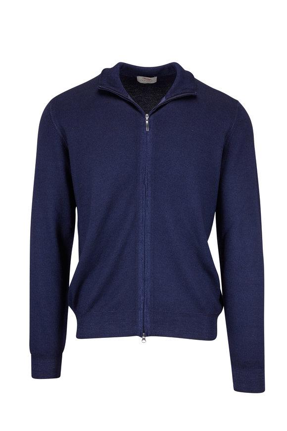 Gran Sasso Navy Blue Merino Zip Cardigan