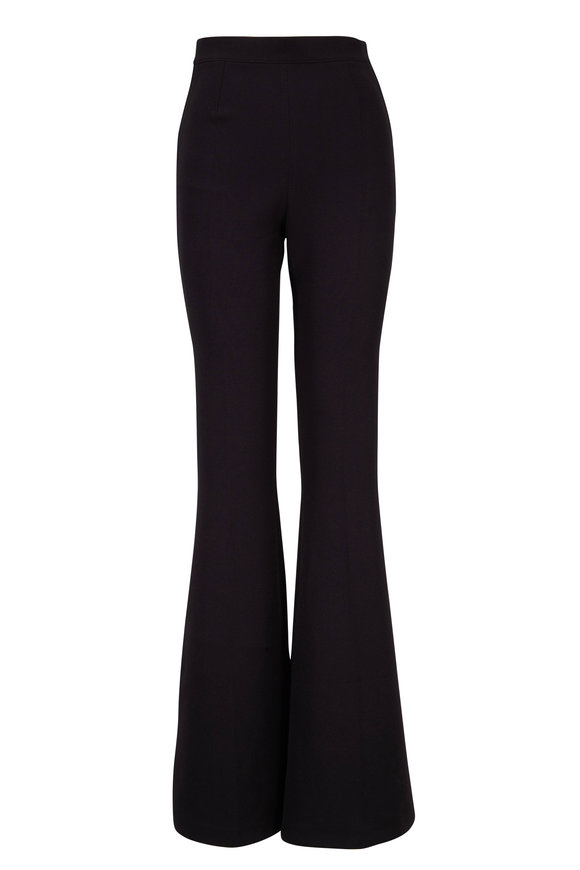 Safiyaa Halluana Black Stretch Crepe Wide Leg Pant