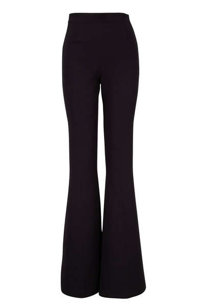 Safiyaa - Halluana Black Stretch Crepe Wide Leg Pant