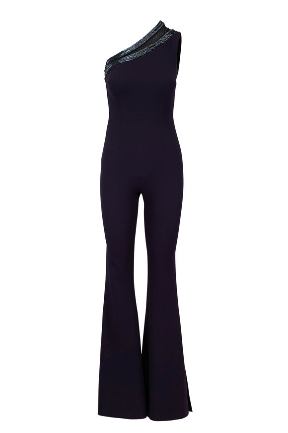 Safiyaa Navy Blue Heavy Crepe One-Shoulder Jumpsuit