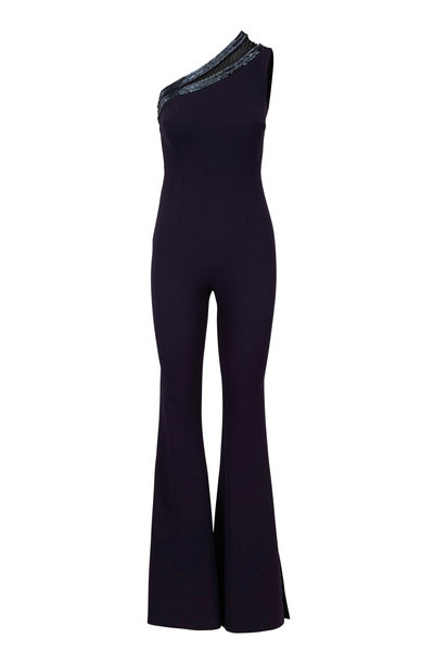 Safiyaa - Navy Blue Heavy Crepe One-Shoulder Jumpsuit