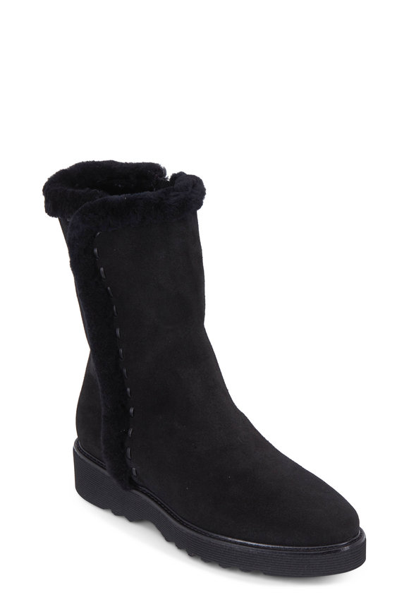 Aquatalia Kalena Black Suede Shearling Lined Boot, 35mm