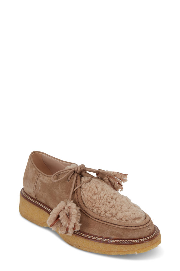 Tod's Beige Suede & Shearling Lace-Up Flat