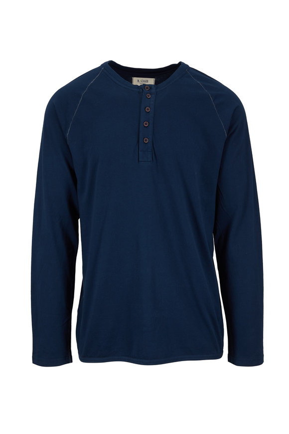 M.Singer Navy Long Sleeve Henley