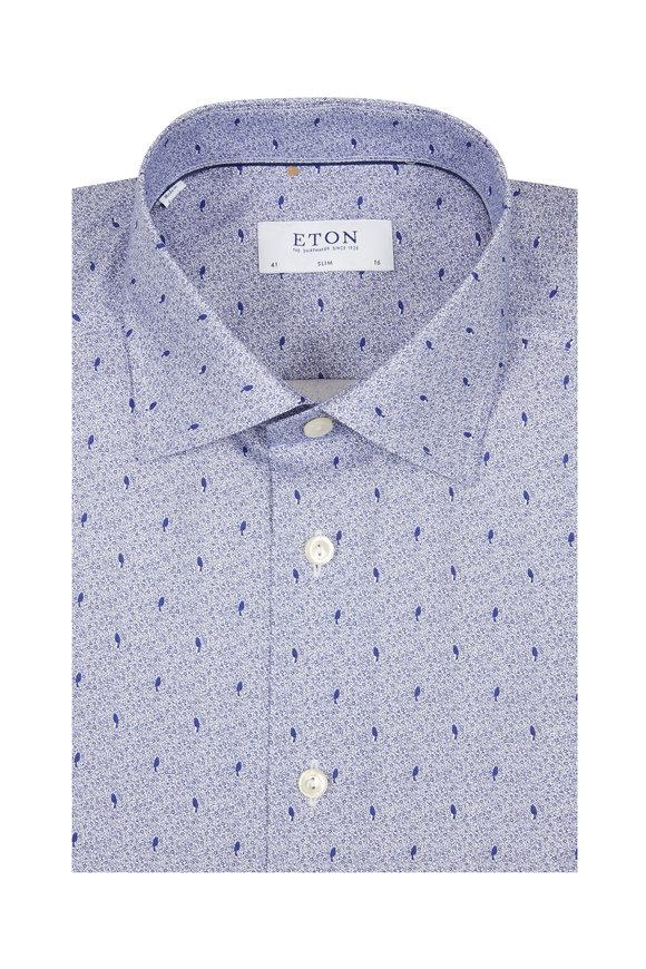 Eton Blue Bird Print Slim Fit Dress Shirt