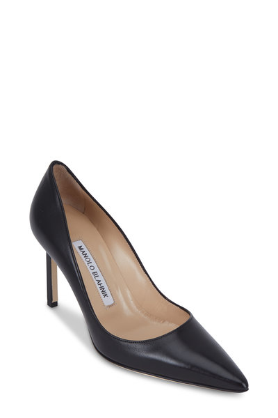 Manolo Blahnik - Lisa Black Leather Pumps, 90mm