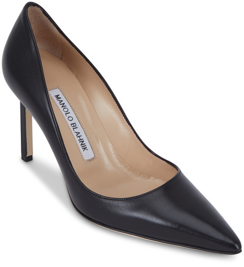 Manolo Blahnik Lisa Black Leather Pumps, 90mm