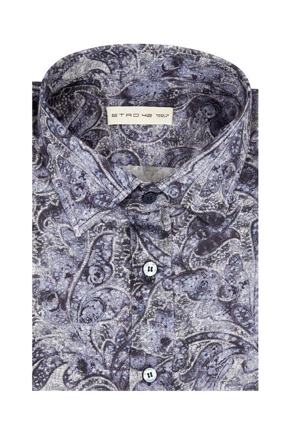 Etro Blue Paisley Cotton Sport Shirt