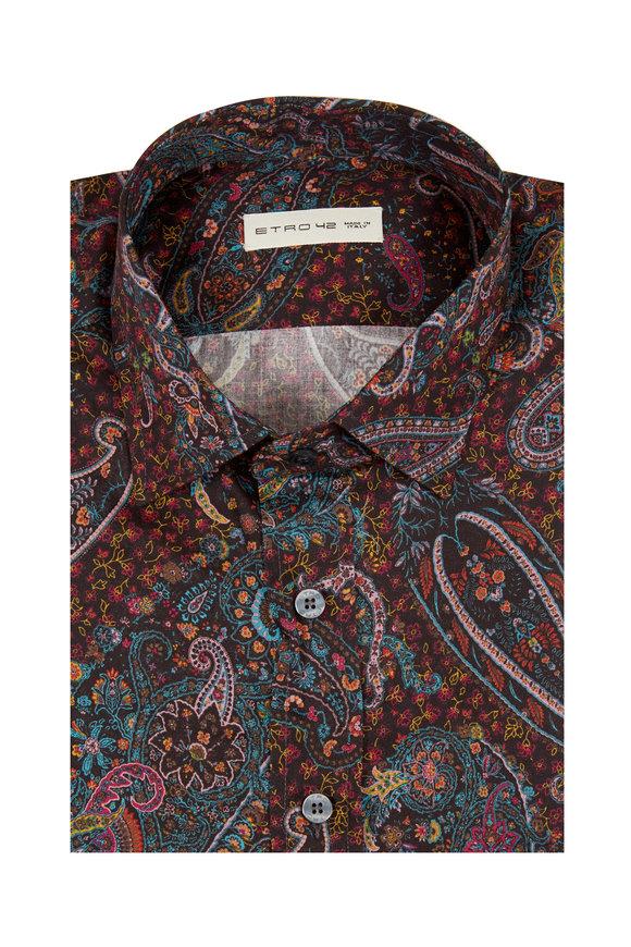 Etro Brown Paisley Cotton Sport Shirt