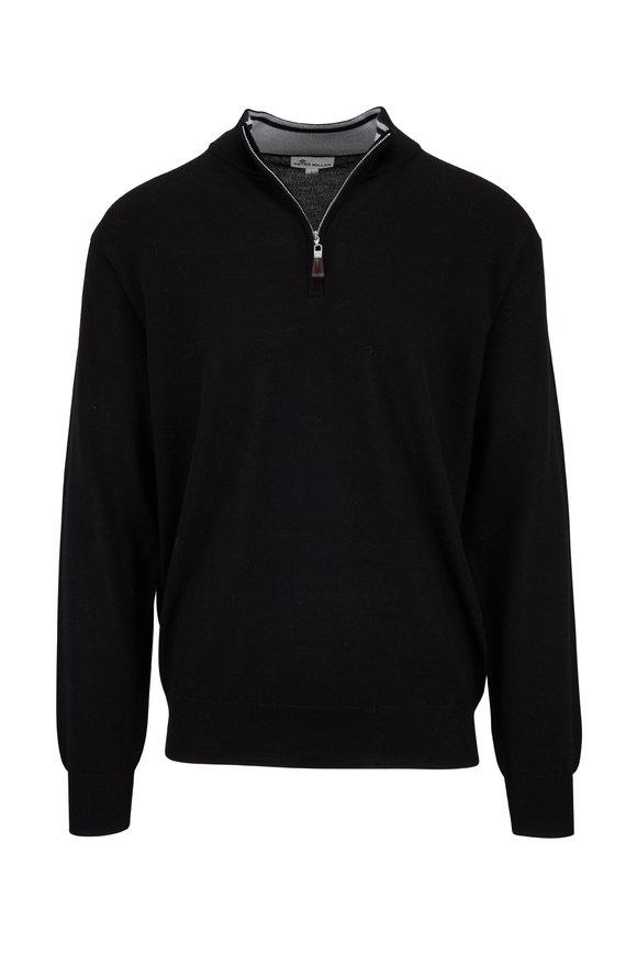 Peter Millar Crown Black Soft Knit Quarter-Zip Pullover